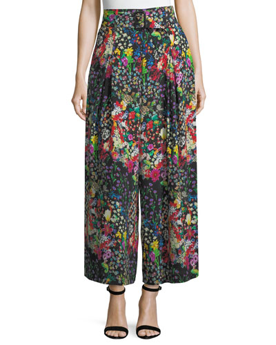 Cropped Wide-Leg Floral Trousers
