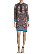 Lily Floral-Print Split-Neck Shift Dress