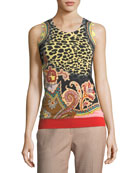 Animal & Paisley Printed Shell Top