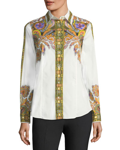 Placed Paisley-Print Poplin Shirt