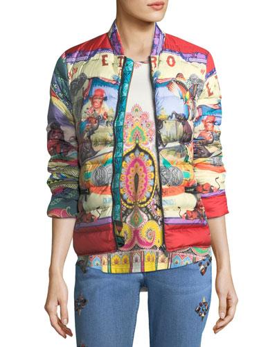 Circus-Print Down Puffer Jacket