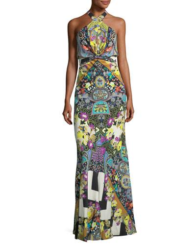 Tie-Waist Paisley Halter Gown