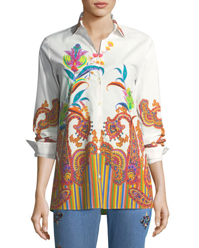 Poplin Floral Paisley Tunic