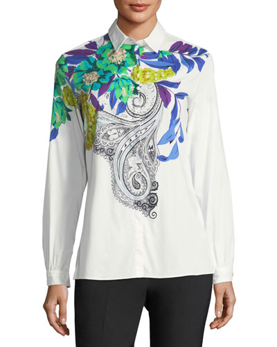 Floral-Motif Cotton Shirt