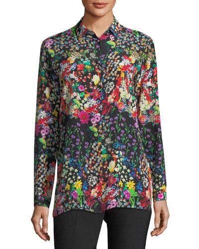 Micro Floral Long-Sleeve Silk Shirt