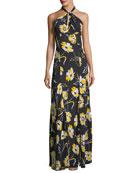Floral-Print Halter-Neck Georgette Column Gown
