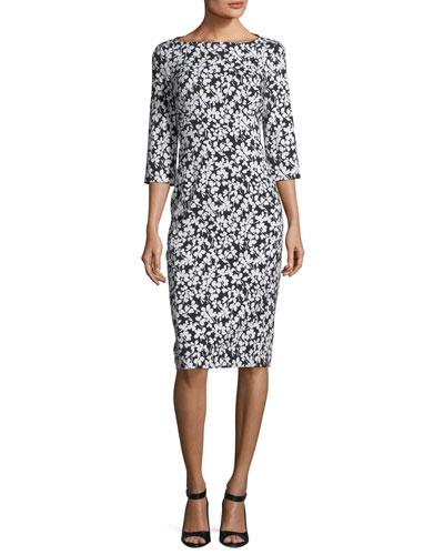 Boat-Neck Floral-Print Stretch Jacquard Sheath Dress