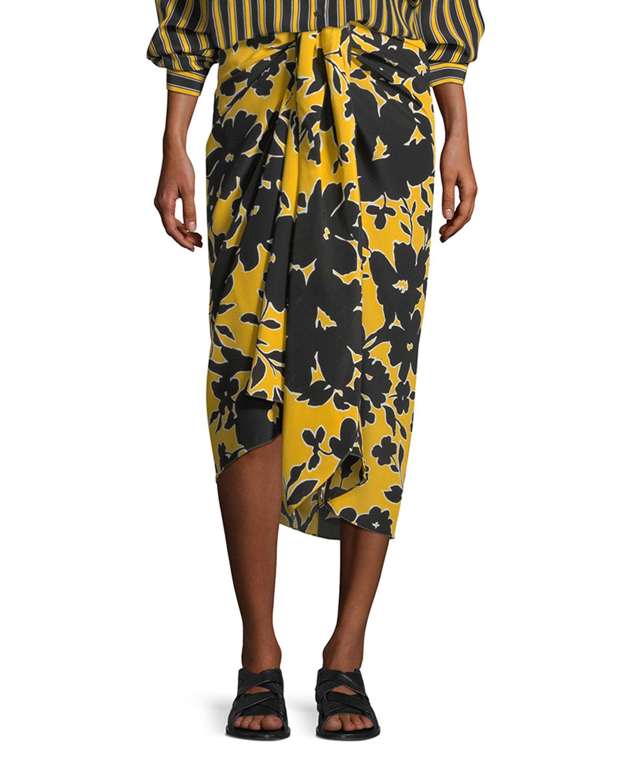 Tropical Floral-Print Sarong Skirt