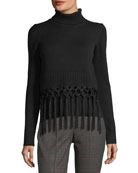 Tassel-Trim Cashmere Turtleneck Sweater