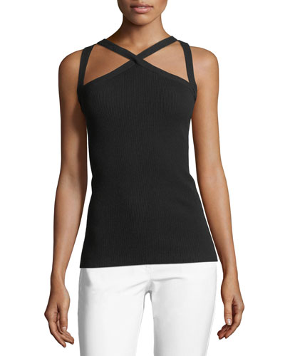 Cross-Front Fitted Halter Top