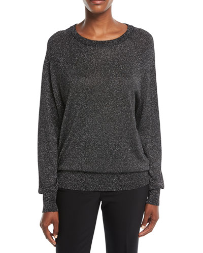 Raglan Long-Sleeve Crewneck Metallic Pullover Sweater