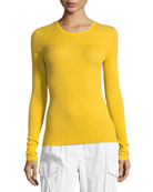 Crewneck Long-Sleeve Ribbed Cashmere Top