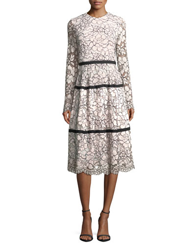 Long-Sleeve Tiered Lace Midi Dress
