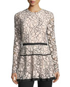 Jewel-Neck Long-Sleeve Lace Peplum Top