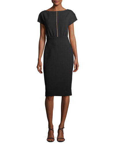 Blouson Pearly Beaded Sheath Dress