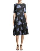 Floral-Embroidered Matelasse Dress
