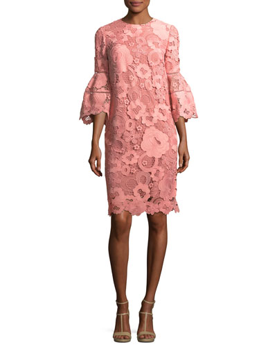 Lace Flounce-Sleeve Tunic Dress