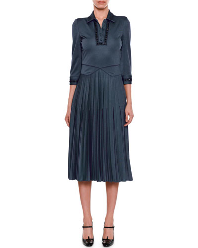 Beaded Collared 3/4-Sleeve Pullover Dress with Pleated Skirt