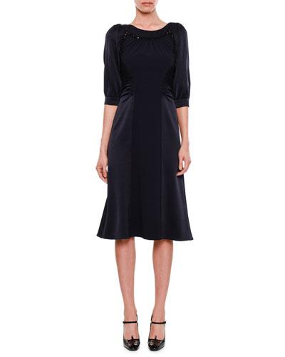Puff-Sleeve Round-Neck Satin-Finish Dress with Crystal Beading