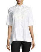 Button-Front Poplin Shirt with Lace