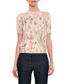 Short-Sleeve Crewneck Floral-Print Cashmere Top