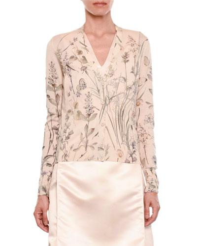 Floral-Print Button-Front Knit Cashmere Cardigan