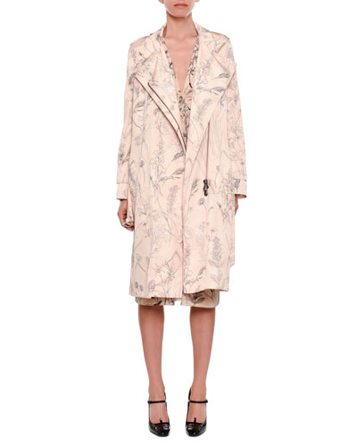 Botanical-Print Zip-Front Belted Trench Coat