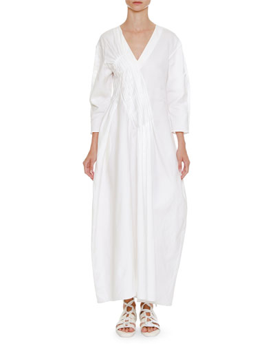 V-Neck Long-Sleeve Long Cotton Dress with Asymmetric Pleating