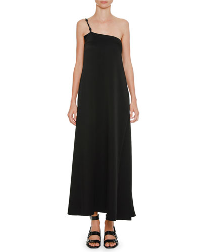 Braided-Strap One-Shoulder Satin Slip Dress