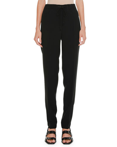 Drawstring High-Waist Straight-Leg Pants