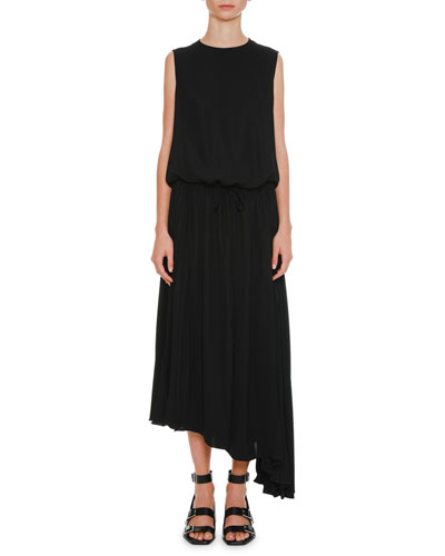 Round-Neck Blouson-Top Drawstring-Waist Crepe Dress