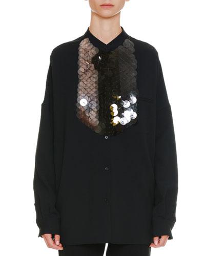 Long-Sleeve Button-Front Oversized Shirt with Detachable Paillette Bib