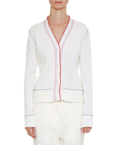 Stitch-Trim Cotton Cardigan