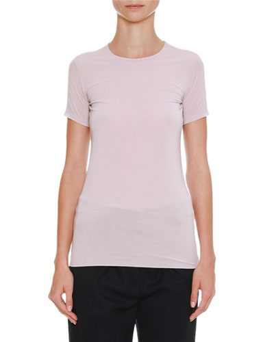 Crewneck Short-Sleeve Fitted Top