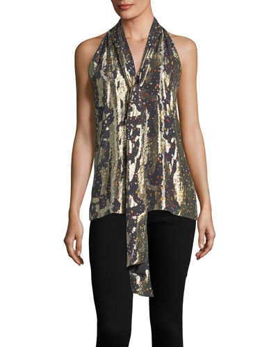 Sleeveless Tie-Neck Halter Metallic Silk Top
