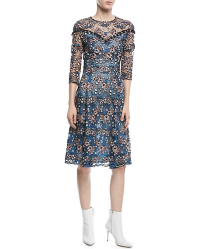 Round-Neck 3/4-Sleeve Floral-Lace Cocktail Dress