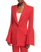 Peak-Lapels Bell-Sleeve One-Button Crepe Blazer