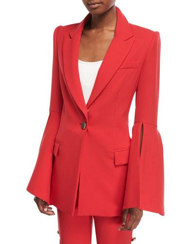 PRABAL GURUNG Peak-Lapels Bell-Sleeve One-Button Crepe Blazer in Red