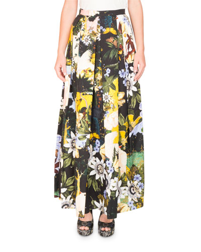 Elena Garden-Print Full A-Line Ankle-Length Skirt