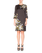 Emma Elbow-Sleeve Silk Shift Dress with Placed Floral-Print