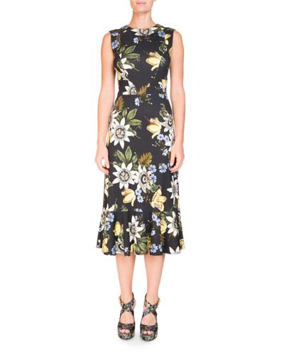 Grazia Round-Neck Sleeveless Floral-Print Cocktail Dress