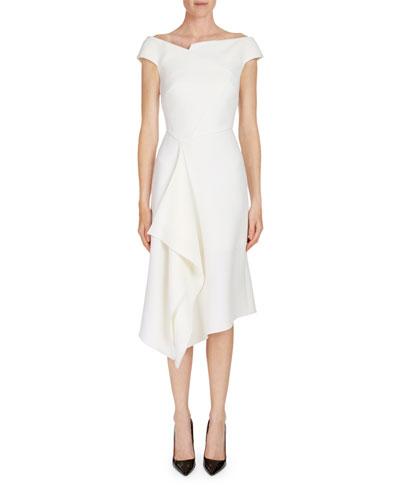 Barwick Cap-Sleeve Cascade-Front Dress