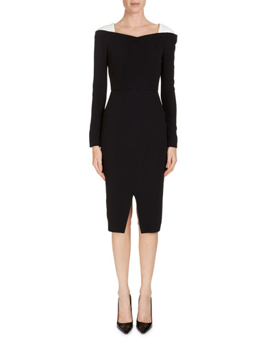 Accrington Long-Sleeve Contrast-Shoulder Dress