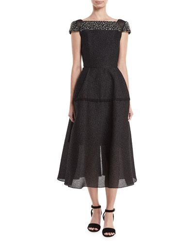 Hadleigh Beaded Full-Skirt Dress
