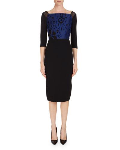 Newark 3/4-Sleeve Fil Coupe Sheath Dress
