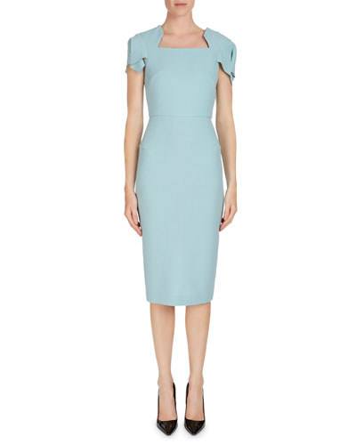 Royston Cap-Sleeve Square-Neck Wool Sheath Dress