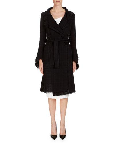Mesh Tweed Belted Coat