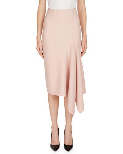 Morpeth Crepe Pencil Skirt with Asymmetric Side Drape