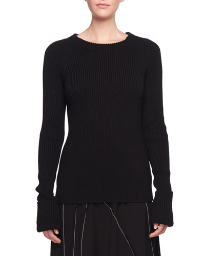 Sabra Crewneck Ribbed Wool Sweater