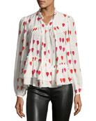 High-Neck Button-Front Petal-Print Silk Blouse
